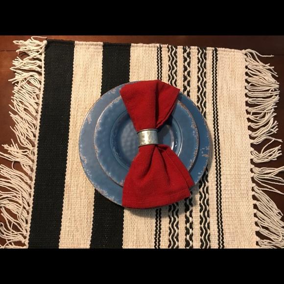 2 New Pottery Barn Striped Kilim Flat Weave Mats